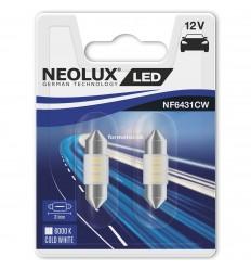 Neolux LED 12V 0,5W SV8.5-8 NF6431CW blister 6000K jasná biela duo blister (31mm)