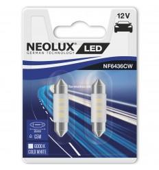 Neolux LED 12V 0,5W SV8.5-8 NF6436CW blister 6000K jasná biela duo blister (36mm)